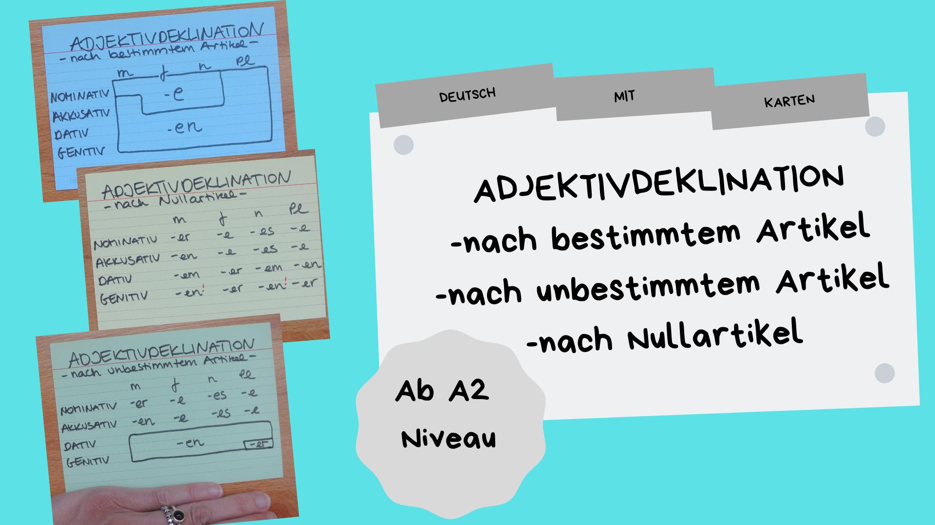 Adjektivdeklinationen übungen Und Tabellen Deutsch Mit Karten